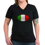 I Love Italy Women's V-Neck Dark T-Shirt