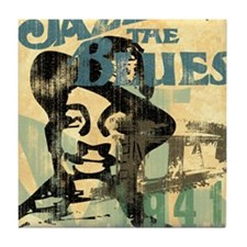 jazzin the blues framed panel print c Tile Coaster