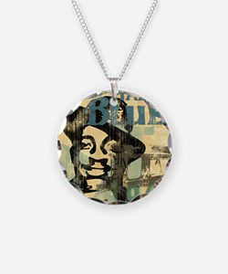 jazzin the blues framed pane Necklace
