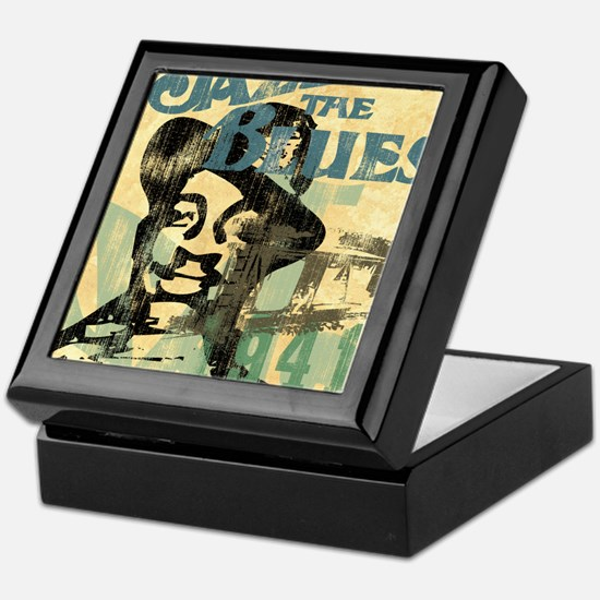 jazzin the blues framed panel print c Keepsake Box