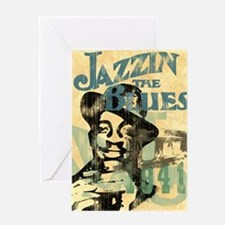 jazzin the blues framed panel print  Greeting Card
