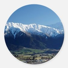Kaikoura and Snow on Seaward Kaik Round Car Magnet