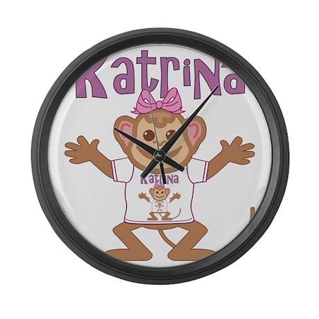 katrina-g-monkey Large Wall Clock