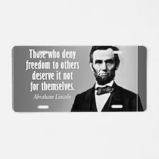 Lincoln Quote Slavery Aluminum License Plate