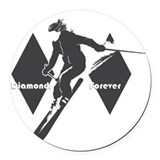 Black diamond ski Round Car Magnets