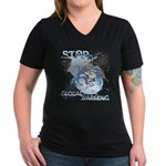 Stop Global Warming Women's V-Neck Dark T-Shirt