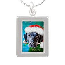 black lab-santa-journal- Silver Portrait Necklace