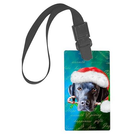 black lab-santa-journal Large Luggage Tag