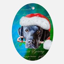 black lab-santa-journal Oval Ornament