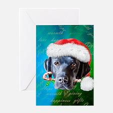 black lab-santa-journal Greeting Card