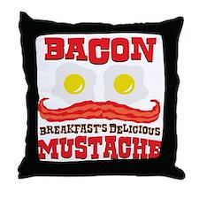 baconmustache Throw Pillow