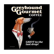 Greyhound Gourmet-male Tile Coaster