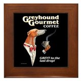 Greyhound coffee Framed Tiles