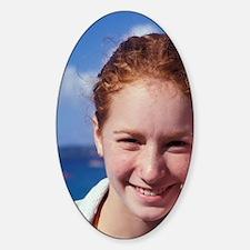 Grand Anse Beach. Young girl listen Decal