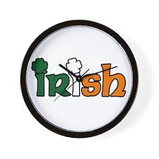 Irish Tri-color with Shamrocks Wall Clock