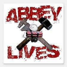"abbey_lives_white Square Car Magnet 3"" x 3"""