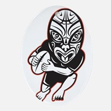 Rugby player running wearing Maori m Oval Ornament