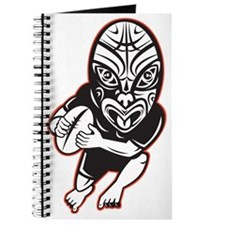 Rugby player running wearing Maori mask Journal