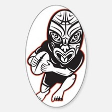 Rugby player running wearing Maori  Sticker (Oval)