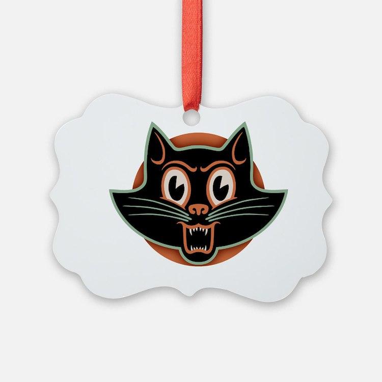blk-cat-face-T Ornament