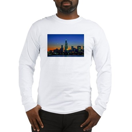 Chicago Framed In Sunset Long Sleeve T-Shirt