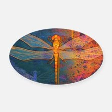 toiletryFlamingDragonfly Oval Car Magnet