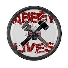 abbey_lives_black Large Wall Clock