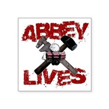 "abbey_lives_black Square Sticker 3"" x 3"""