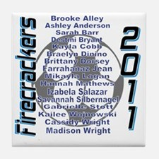 U14FirecrackersNames Tile Coaster