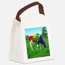 rainbow-cow_13-5x13-5 Canvas Lunch Bag