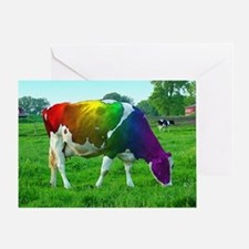 rainbow-cow_13-5x13-5 Greeting Card