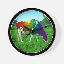 rainbow-cow_13-5x13-5 Wall Clock