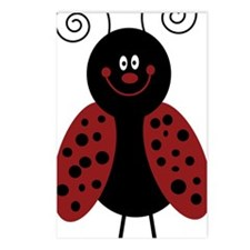 Love Bug Cartoon Ladybug Postcards (Package of 8)
