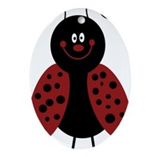 Love Bug Cartoon Ladybug Oval Ornament