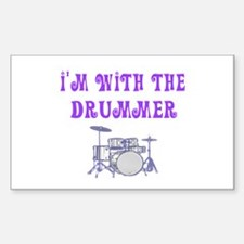 I'M WITH THE DRUMMER Rectangle Decal