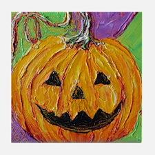 Orange Halloween Jack-O-Lantern Tile Coaster