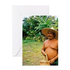 Carib Village. Resident man with a h Greeting Card