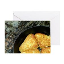 Hash browns cooking on campfire, Cen Greeting Card