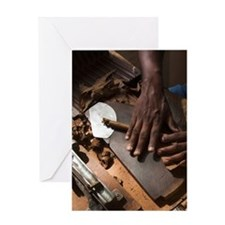 Cohiba cigars being made by hando, Z Greeting Card