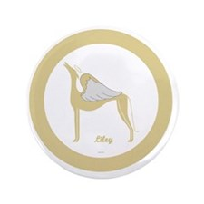 "LILEY ANGEL GREY GOLD RIM ROUND ORNAME 3.5"" Button"