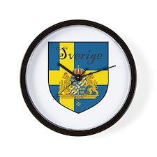 Sverige Flag Crest Shield Wall Clock