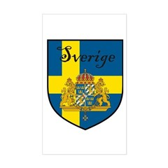 Sverige Flag Crest Shield Rectangle Decal