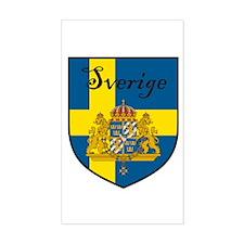 Sverige Flag Crest Shield Rectangle Stickers