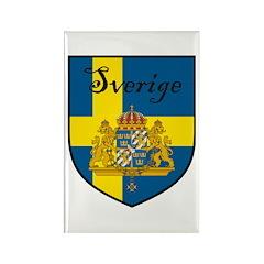 Sverige Flag Crest Shield Rectangle Magnet (10 pac