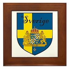 Sverige Flag Crest Shield Framed Tile