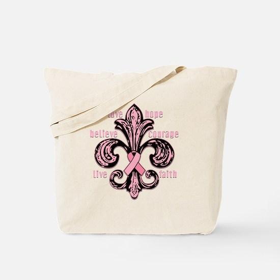 fleurPinkRibbonWdsTR Tote Bag