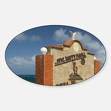 Paradera: One Happy Island Sign at  Sticker (Oval)