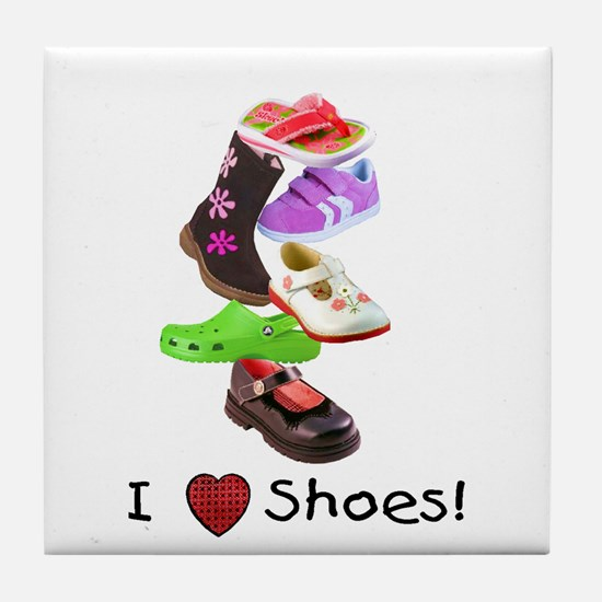 Little Girls love shoes too Tile Coaster