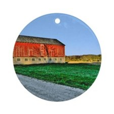 big red barn  UPDATED Round Ornament