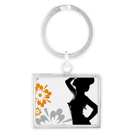 10x10_burlesque_orange Landscape Keychain